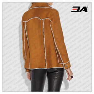 Brown Suede Leather Shearling Coat - 3A MOTO LEATHER