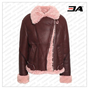 Burgundy Shearling Lined Leather Fur Jacket - 3A MOTO LEATHER
