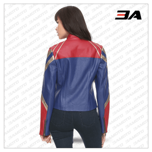 Brie Larson Captain Marvel Jacket Leather Costume - 3A MOTO LEATHER