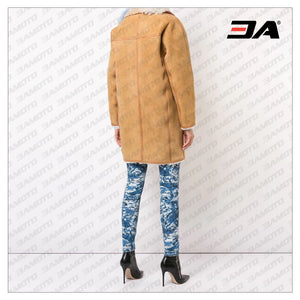 Contrast Collar Shearling Fur Coat - 3A MOTO LEATHER