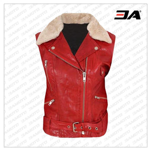 Contrast White Fur Collar Biker Leather Vest - 3A MOTO LEATHER
