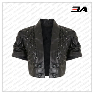 Cropped Quilted Leather Jacket - 3A MOTO LEATHER