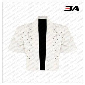 Cropped Quilted White Leather Jacket - 3A MOTO LEATHER