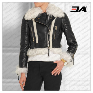 Cropped Shearling Trimmed Leather Biker Jacket