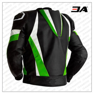 Custom Black And Lime Green Leather Motorcycle Jacket