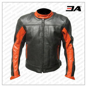 Custom Black And Orange Leather Racing Jacket