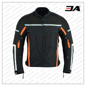 Custom Black and Orange Motorcycle Jacket