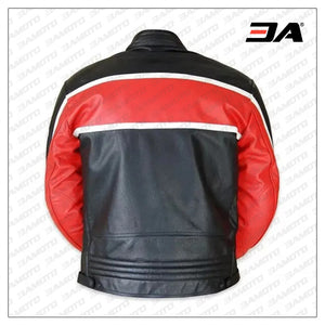 Custom Black And Red Motorcycle Leather Jacket