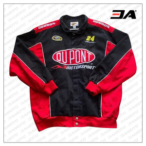 Custom Black And Red Motorcycle Safety Pads Jacket