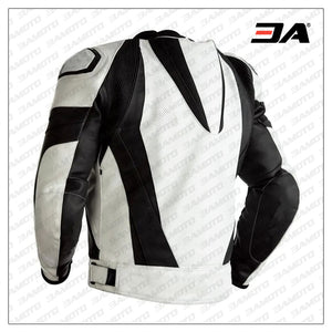Custom Black And White Leather Motorcycle Jacket