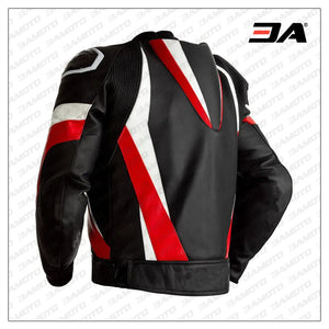 Custom Black White and Red Leather Motorcycle Jacket