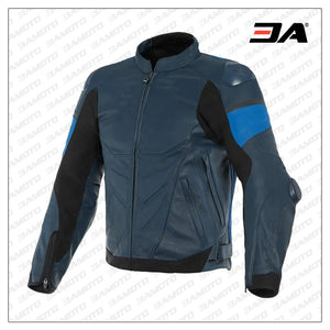 Custom Blue and Black Motorcycle Leather Jacket