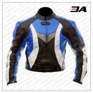 Custom Protective Gear White,Black And Blue Motorcycle Jacket