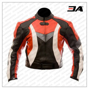 Custom Protective Gear White,Black And Red Motorcycle Jacket