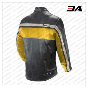 Custom Yellow And Black Motorcycle Leather Jacket