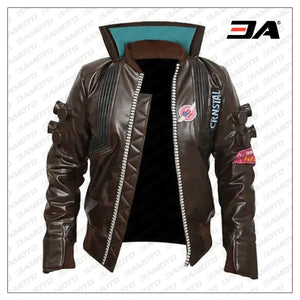 cyberpunk 2077 real bomber leather brown jacket samurai