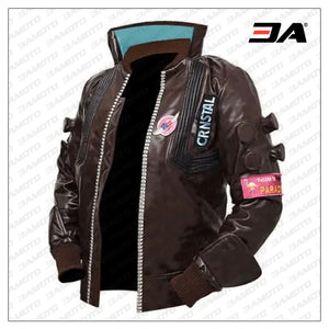 cyberpunk 2077 real bomber leather brown jacket side