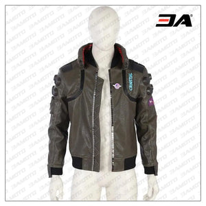 cyberpunk 2077 real bomber leather green jacket front