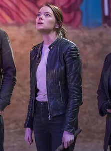 EMMA STONE ZOMBIELAND DOUBLE TAP LEATHER JACKET