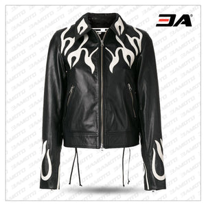 Women Fashion Printed Flame Effect Leather Jacket