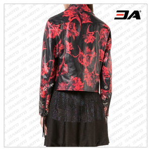 Women Floral Printed Leather Jacket