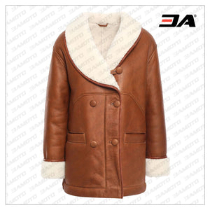 Freeze Double Breasted Shearling Fur Coat
