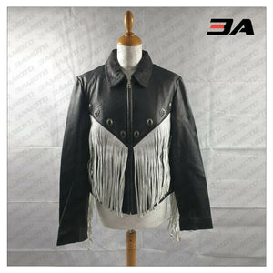 Fringe Leather Embellished Studded Jacket - 3A MOTO LEATHER