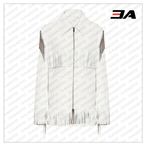 Fringed Leather Coat In White - 3A MOTO LEATHER