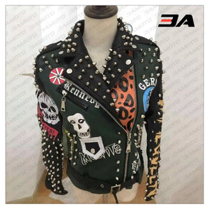 Graffiti Studs Punk Style Skull Biker Pu Jacket - 3A MOTO LEATHER