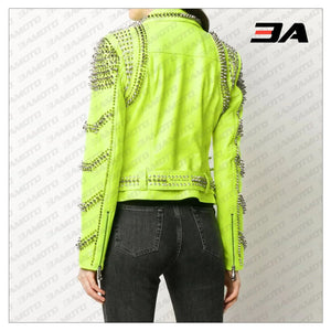 Green Leather Studded Biker Jacket - 3A MOTO LEATHER