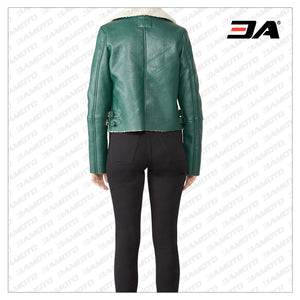 Green Shearling Fur Leather Biker Jacket
