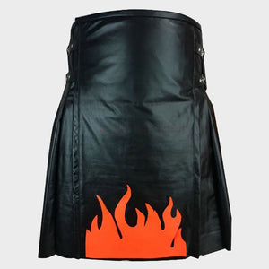 Fire Flame Leather Kilt