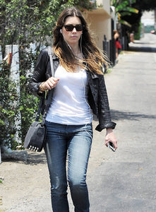 JESSICA BIEL LEATHER SHIRT