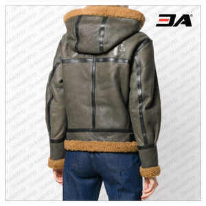 Khaki Green Shearling Aviator Coat - 3A MOTO LEATHER