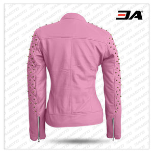 Women Pink Quilted Gold Studded Skeletons Genuine Leather Jacket