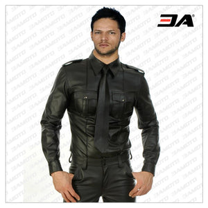 Solid Long Sleeve Leather Shirt