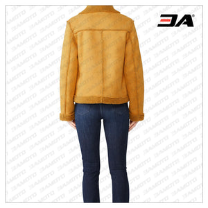 Lovers Dance Yellow Shearling Fur Aviator Jacket