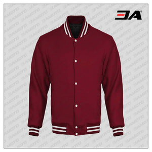 Maroon Cotton Fleece Varsity Jacket
