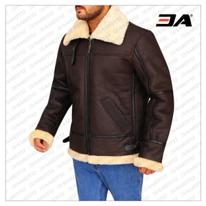 B3 BOMBER AVIATOR SHEARLING LEATHER JACKET
