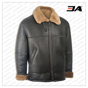 MEN BLACK AVIATOR SHEARLING JACKET - 3A MOTO LEATHER