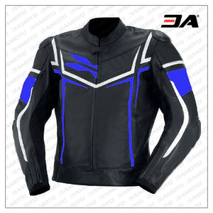Men Black Blue And White Racing Safety Pads jacket