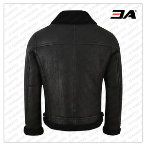 MEN JET BLACK SHEARLING LEATHER JACKET - 3A MOTO LEATHER