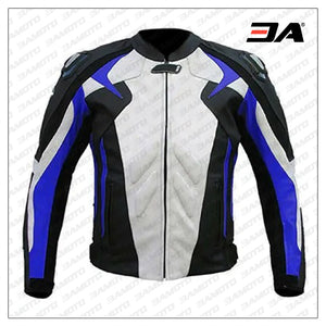 Men Blue White And Black Motorcycle Leather Jacket