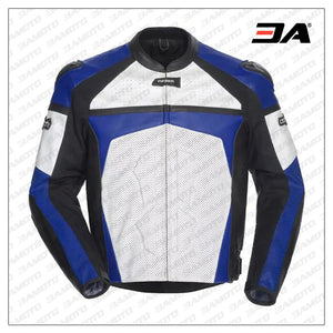 Men Blue & White Motorcycle Leather Jacket