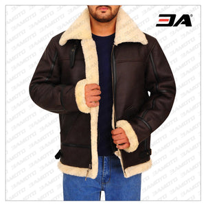 B3 BOMBER AVIATOR SHEARLING LEATHER JACKET - 3A MOTO LEATHER