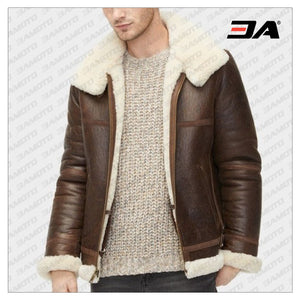 MEN AVIATOR SHEARLING LEATHER JACKET - 3A MOTO LEATHER