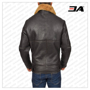 MEN REAL SHEEPSKIN BROWN JACKET - 3A MOTO LEATHER