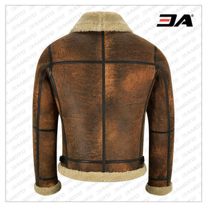 MEN DISTRESSED BROWN SHEARLING JACKET - 3A MOTO LEATHER
