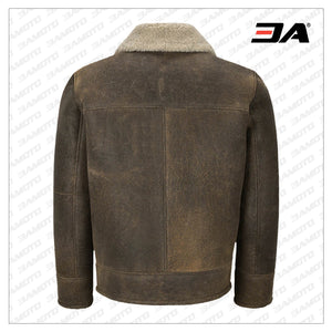 MEN OLD FASHION BROWN SHEARLING JACKET - 3A MOTO LEATHER