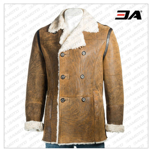 BROWN SHEARLING LEATHER MEN COAT - 3A MOTO LEATHER